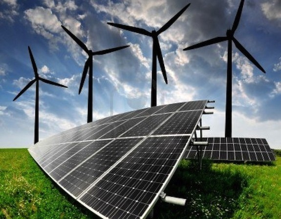 13007691-solar-energy-panels-and-wind-turbine
